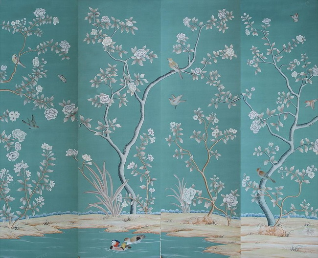 hand painted wallpaper, silk wallpaper, china wallpaper ...