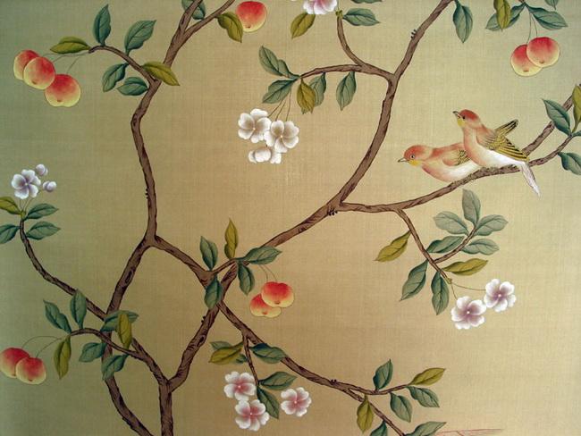 Vertical Flower Pattern hand painted wallpaper...