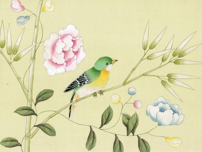 hand painted wallpaper, silk wallpaper, china wallpaper, grace silk ...