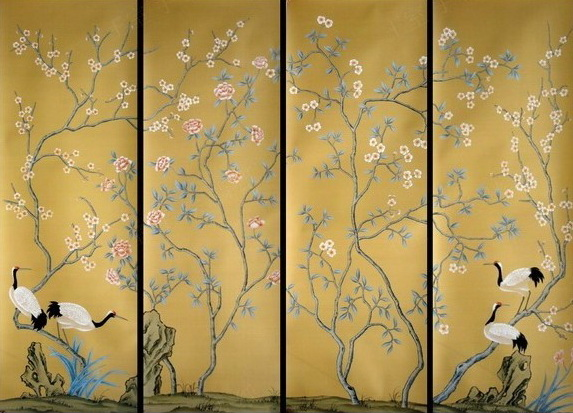 Hand Painted Wallpaper Silk Wallpaper China Wallpaper