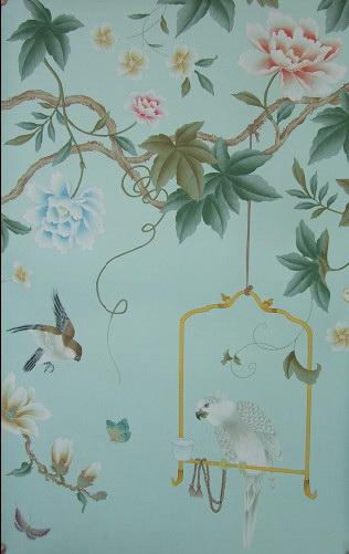 Hand Painted Wallpaper Silk China Grace Panel Chinoiserie Style Handmade Exlusive