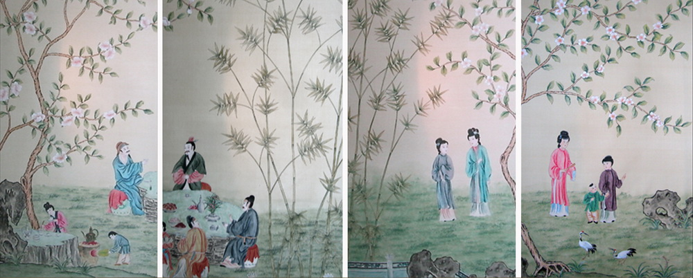 Hand Painted Wallpaper Silk China Grace